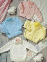 "Baby Easy Knit Cardigans & Sweaters Knitting Pattern DK Boy Girl 14-22"" 1197"