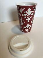 St Nicholas Square Tumbler Travel Coffee Mug Cup Red White Silicone Top