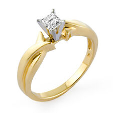Solitaire Engagement Ring 14k Gold Yellow 0.51 Ct Princess Cut H Vs2 Diamond