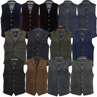 Mens MARENO Waistcoat Wool Mix Formal Vest Herringbone Tweed Check Velvet Lined