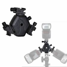 Triple Head Hot Shoe Holder Mount 3-in-1 Adapter Speedlite Flash Light Bracket