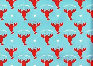 You're My Lobster Gift Wrap Wrapping Paper 2 Sheets 2 Tags Friends Valentine Day