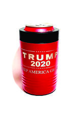 Red Insulated Stainless Steel Can Cooler-TRUMP 2020+Your CUSTOM Text On Reverse