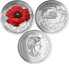 CANADA 2015 New 2 x 25 cent In Flanders Fields NO COLOR and COLOR (BU From roll)