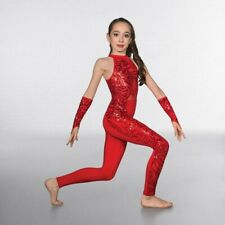Dance Catsuit Leotard Costume 1st Position Red Flame Sequin Keyhole Back LC 9-11