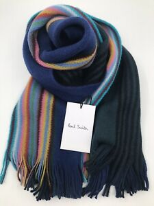 Paul Smith Men Scarf Multi Edge Double 100% Wool Made In Germany Blue