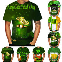 Men St. Patrick's Day Green Print O-Neck Short Sleeve T Shirt Tees Tops Blouse W