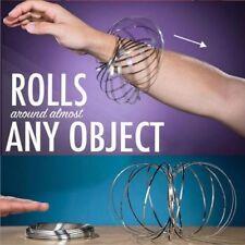 SILVER MAGIC RING 3D FLOW KINETIC METAL BRACELET SPIRALS ROLLS FIDGET STRAND TOY