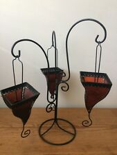 Triple Hanging Leather Tealight Candle Tabletop Candle Holder