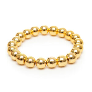 Stretch Bracelet Unique Light Gold Hematite Gemstone Beaded Hand Made UK