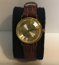 Ladies Vicence 14k Solid yellow gold Quartz Wrist Watch With Leather Band
