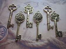 Lot de 14 breloques pendentifs clé métal couleur argent antique,vieilli-bc226