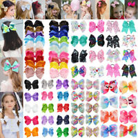 "6""/8"" Hair Bow Clip Jojo Style Girls Teens Kids Baby Toddlers Large Ribbon Bow"