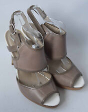 Ladies M&S Autograph Insolia Beige Leather High Heeled Sandals Shoes Size UK 5