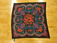 "Vintage Carroll Reed Black w Floral Bouquet Silk Big Square Scarf 31"""