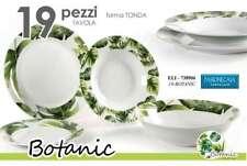 SERVIZIO PIATTI TONDI TAVOLA DECORO BOTANIC FOGLIE 19 PEZZI ELI-738906