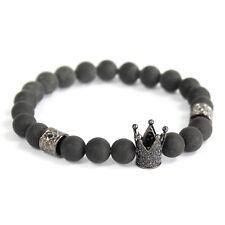 Crystal Crown / Black Agate - Gemstone Bracelet