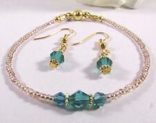 Bracelet Adorned With Green Swarovski Beads and Gold Seed Beads