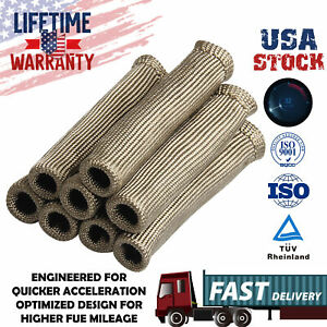 8Pieces Titanium Spark Plug Wire Boot Heat Shield Protector Sleeve 2500 degree F