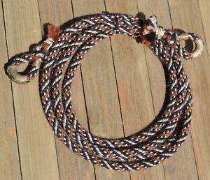 """3/8"""" Alpaca Hair Loop / Roping / Trail Reins 6 St x 9 ft -  Rust/Tan/Black"""