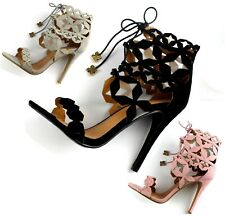 LADIES STILETTO HIGH HEEL TIE UP BARELY THERE LACE UP CAGE SANDALS SHOES SIZES