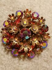 "LG Vintage Red Aurora Borealis Rhinestone Flower Gold Tone Brooch 2 1/8"""