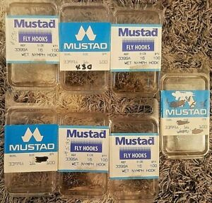 700 New Mustad Sproat Wet Nymph 3399A  Size 16 Fly Tying Hooks Fishing 100ea box