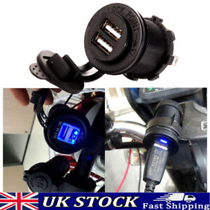 Waterproof 2 USB Port Motorbike Motorcycle Charger Socket Outlet Power Adapter