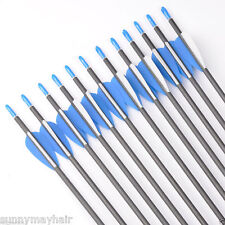 12pcs 30inch Hunting Archery Carbon Arrows F Compound /Recurve Bow 7mm Dia Meter