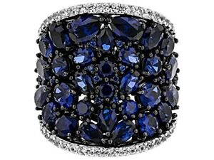 Mixed Shape Dark Royal Blue 5.46CT Sapphire & Sparkling CZ Magnificent Fine Ring