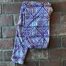 Lularoe Women's Size Tall and Curvy Purple Triangle Geometric Leggings Pants