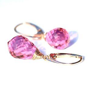 Lab Made Pink Topaz Earrings 14k Rose Gold Filled, December Birthstone Handmade