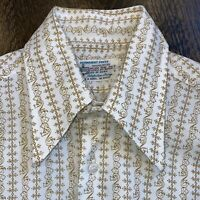 Vtg 60s 70s KMART Shirt Polyester Disco Big Collar Hippie Woodstock MENS MEDIUM