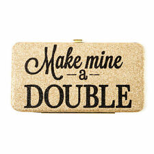 """""""Make Mine a Double"""" Gold Glitter Hardcase Wallet -NWT"""