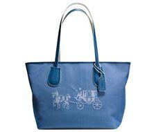 COACH Shoulder Tote Denim Blue HORSE & CARRIAGE Purse BAG CANVAS Zip top 245 NWT