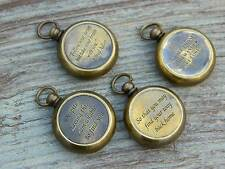 Necklace Solid Brass Compass Pendant Working Compass Antiqued Brass Lot of 4
