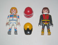 Playmobil Figurine Personnage Lot 2 Pilote Course Racing Karting + Casque NEW