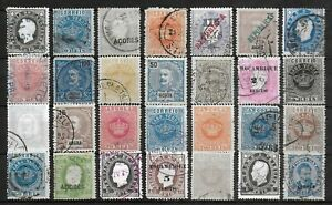 PORTUGUESE COLONIES Used Classic Lot of 28 Stamps Unchecked