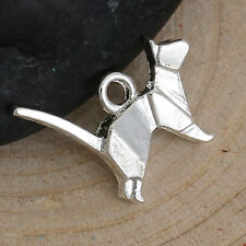 5 Silver ORIGAMI CAT Charms, Bright Silver Plated Pendants, 15x13mm, chs2655