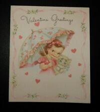 Vintage Unused 1946 Rust Craft Valentine Greeting Card Girl With Kitten