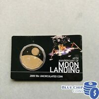 2009 UNC 50c 40TH ANNIVERSARY OF MOON LANDING COIN ON CARD