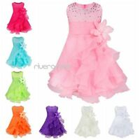 Baby Girl Wedding Bridesmaid Party Baptism Christening Sequins Gown Flower Dress