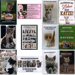 Blechschild Schilder 20x30cm Haustiere Katze Metall Deko Schild Hobby Kater