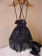 VICTORIAN 1800'S STYLE BLACK SATIN LACE RETICULE PURSE GOTHIC STEAMPUNK GOTHIC