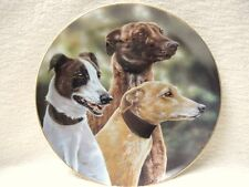 DANBURY MINT GREYHOUND PLAQUE PLATE ENTITLED FAST FRIENDS HAS A 22ct GOLD RIM