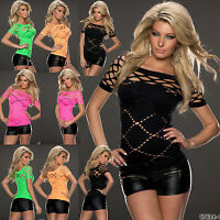 Top Womens Blouse Ladies Cut Out Clubbing Party Stretch Shirt Size 6 8 10 12 14