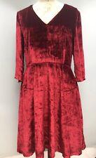 Tommy Hilfiger Designer Dress Velvet Neve 3/4 Sleeve Rio Red RRP £165 New Hobo