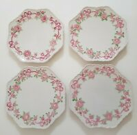 "Lynn Hollyn Porta Pink Flowers Ribbon Dessert/ Salad Plates Made in Portugal 9"""