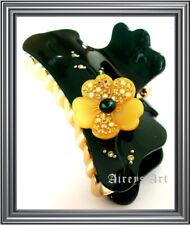 Rena Chris Korea Quality Green Swarovski Flower Lady Hair Claw Clip Accessories