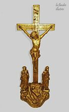 magnifique  sainte famille - christ en bois doré 19ème - religion